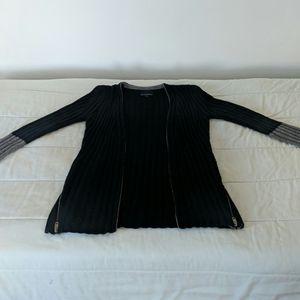 Black and grey Cynthi Rowley thick knit cardigan.